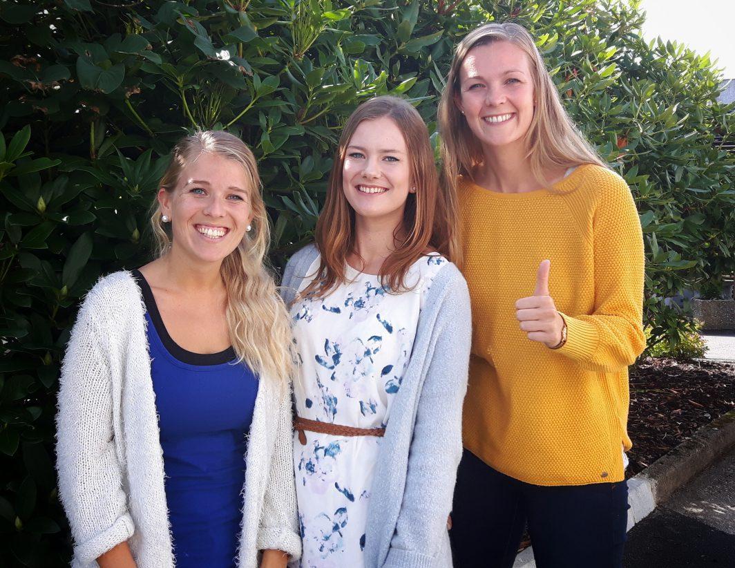 Nye tilskot blant dei tilsette! F.v.: Stine Nessa, Natalie Bjørkeland og Anne-Hilde Flatland Meling